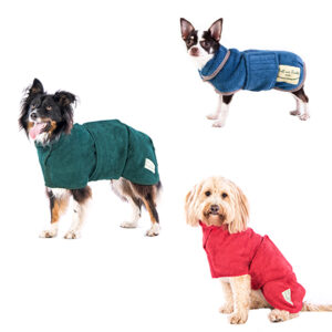 Ruff and Tumble Classic Dog Drying Coats – Red, Blue and Green.