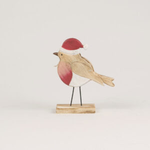 Wooden Robin Standing Decoration by Sass and Belle