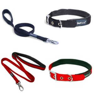PetFace Nylon Collars and Leads in Red and Black