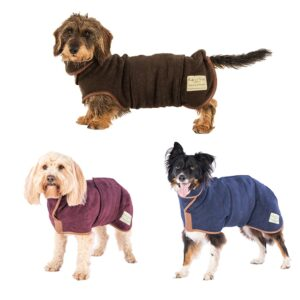 Ruff and Tumble Country Dog Drying Coats – Burgundy, French Navy & Mud